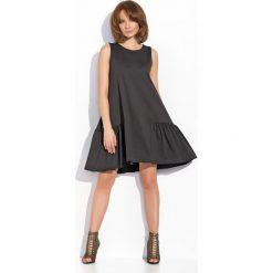 Sukienki balowe: Czarna Kobieca Rozkloszowana Sukienka bez Rękawów