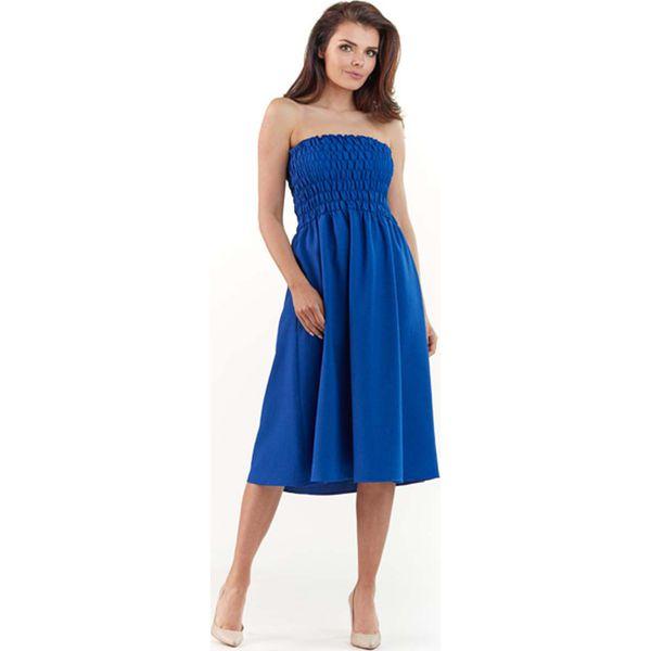 564ae78a592c3e Niebieska Rozkloszowana Midi Sukienka z Gorsetową Górą z Gumkami ...