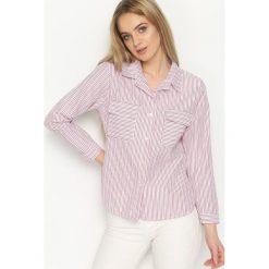 Czerwona Koszula Classic Stripes. Czerwone koszule damskie marki Born2be, s, w paski, klasyczne, z klasycznym kołnierzykiem. Za 39,99 zł.