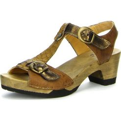"""Rzymianki damskie: Skórzane sandały """"Zunda"""" w kolorze jasnobrązowym"""