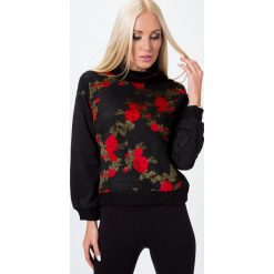Bluzy rozpinane damskie: Bluza w kwiaty czarna 6536