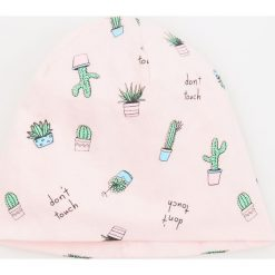 Czapki damskie: Dzianinowa czapka w kaktusy – Kremowy