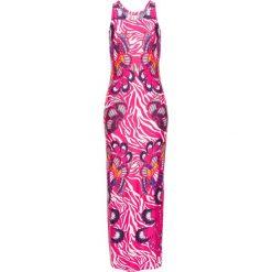 Sukienka w kolorowy deseń bonprix jasnoróżowy. Czerwone sukienki hiszpanki bonprix, na lato, w kolorowe wzory. Za 129,99 zł.