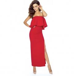 Elegancka Czerwona Maxi Sukienka w Hiszpańskim Stylu. Czerwone długie sukienki Molly.pl, na co dzień, l, eleganckie, z kopertowym dekoltem, kopertowe. Za 219,90 zł.