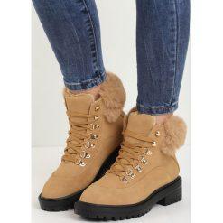 Camelowe Traperki Fancy Crazy. Szare buty zimowe damskie marki Born2be, z okrągłym noskiem, na niskim obcasie. Za 109,99 zł.
