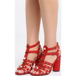 Czerwone Sandały Almost There. Czerwone sandały damskie na słupku marki Born2be, z materiału, na wysokim obcasie. Za 79,99 zł.