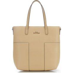 Torebka damska 86-4E-430-9. Brązowe torebki klasyczne damskie Wittchen, w paski, ze skóry, z tłoczeniem. Za 399,00 zł.