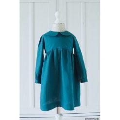 Sukienka klasycznym kołnierzykiem, morski. Zielone sukienki dziewczęce z falbanami Pakamera, klasyczne. Za 189,00 zł.