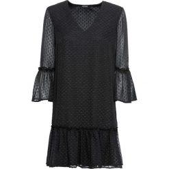 Sukienka z falbanami bonprix czarny. Czarne sukienki z falbanami marki bonprix. Za 79,99 zł.