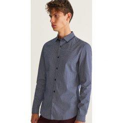 Koszula slim fit z drobnym wzorem - Niebieski. Niebieskie koszule męskie slim marki Reserved, l. Za 99,99 zł.