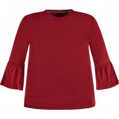 Koszulka w kolorze czerwonym. Białe bluzki dziewczęce z długim rękawem marki Marc O'Polo Junior, z nadrukiem, z okrągłym kołnierzem. W wyprzedaży za 62,95 zł.