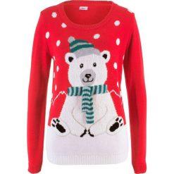 Sweter z okrągłym dekoltem bonprix czerwony wzorzysty. Czerwone swetry klasyczne damskie marki bonprix, z okrągłym kołnierzem. Za 89,99 zł.