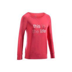 Koszulka Gym 500. Czerwone bluzki sportowe damskie DOMYOS, l, z bawełny, z długim rękawem. W wyprzedaży za 27,99 zł.