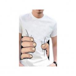 """T-shirt """"Squeezing Hand"""". Białe t-shirty męskie z nadrukiem Knitcat, l, z bawełny. Za 49,00 zł."""