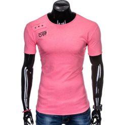 T-SHIRT MĘSKI Z NADRUKIEM S957 - RÓŻOWY. Czerwone t-shirty męskie z nadrukiem marki Ombre Clothing, m. Za 29,00 zł.