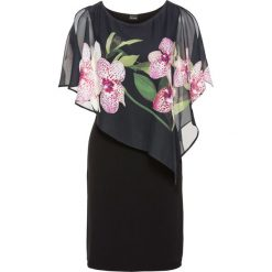 Sukienka z szyfonową narzutką bonprix czarny - orchidee. Niebieskie bolerka i narzutki damskie marki bonprix, z nadrukiem. Za 119,99 zł.