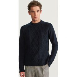 Sweter z raglanowym rękawem - Granatowy. Niebieskie swetry klasyczne męskie Reserved, l. Za 99,99 zł.