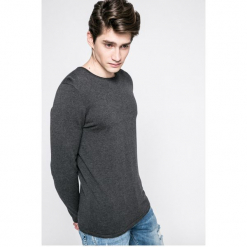 Tom Tailor Denim - Sweter. Szare swetry klasyczne męskie marki TOM TAILOR DENIM, m, z aplikacjami, z bawełny, z okrągłym kołnierzem. W wyprzedaży za 59,90 zł.