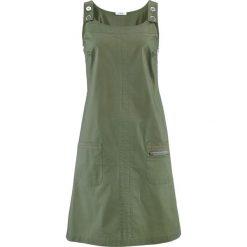"""Sukienka ze stretchem """"papertouch"""" bonprix oliwkowy. Zielone sukienki marki Reserved, z wiskozy. Za 109,99 zł."""