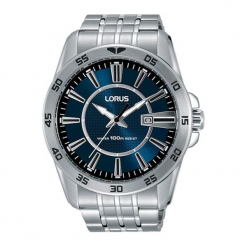 """Zegarek """"RH971HX9"""" w kolorze srebrnym. Czarne, analogowe zegarki męskie marki Lorus, Pulsar, ze stali. W wyprzedaży za 179,95 zł."""