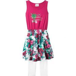 Sukienki dziewczęce: Sukienka + legginsy 3/4 (2 części) bonprix jeżynowo-biały