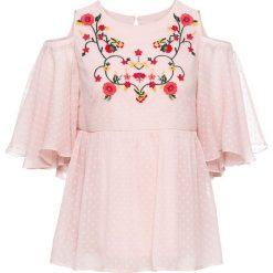 Bluzki damskie: Bluzka z wycięciami i haftem bonprix dymny różowy