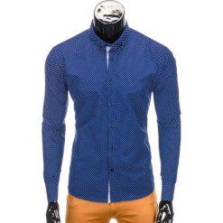 KOSZULA MĘSKA ELEGANCKA Z DŁUGIM RĘKAWEM K326 - GRANATOWA/BIAŁA. Białe koszule męskie na spinki Ombre Clothing, m, z bawełny, z kontrastowym kołnierzykiem, z długim rękawem. Za 59,00 zł.
