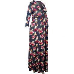 Sukienka shirtowa ciążowa i do karmienia piersią bonprix niebieski w kwiaty. Niebieskie sukienki balowe bonprix, w kwiaty, z materiału, z kopertowym dekoltem. Za 149,99 zł.