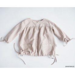 Sukienka z troczkami, PINK STRIPES. Różowe sukienki dziewczęce z falbanami Pakamera, z bawełny, z długim rękawem, długie. Za 90,00 zł.