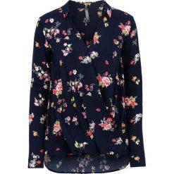 Bluzki damskie: Bluzka kopertowa bonprix ciemnoniebieski w kwiaty