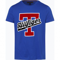 Tommy Hilfiger - T-shirt męski, niebieski. Niebieskie t-shirty męskie z nadrukiem TOMMY HILFIGER, m, z bawełny. Za 179,95 zł.