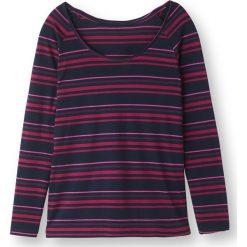Koszulka t-shirt w wielokolorowe pasy. Szare bluzki longsleeves marki La Redoute Collections, m, z bawełny, z kapturem. Za 52,46 zł.