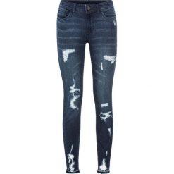 """Dżinsy Super Skinny """"destroyed"""" bonprix ciemny denim. Niebieskie jeansy damskie marki House, z jeansu. Za 109,99 zł."""