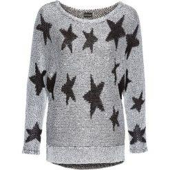 Sweter dzianinowy bonprix srebrno-czarny. Czarne swetry klasyczne damskie bonprix, z dzianiny. Za 99,99 zł.