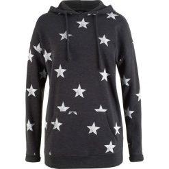 Bluza z kapturem i nadrukiem w gwiazdy bonprix antracytowy melanż z nadrukiem. Szare bluzy rozpinane damskie bonprix, melanż, z kapturem. Za 74,99 zł.