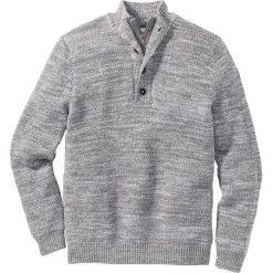 Swetry męskie: Sweter z plisą guzikową Regular Fit bonprix szary melanż