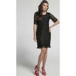 Sukienki: Czarna Stylowa Sukienka Koronkowa z Frędzlami