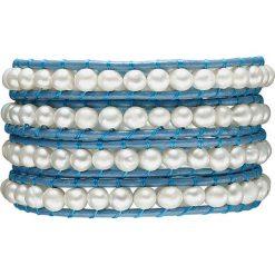 Bransoletki damskie: Skórzana bransoletka w kolorze niebiesko-białym z hodowlanymi perłami słodkowodnymi