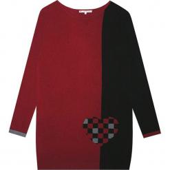 Sukienka kaszmirowa w kolorze czerwono-czarnym. Sukienki małe czarne Ateliers de la Maille, na imprezę, z kaszmiru, z okrągłym kołnierzem. W wyprzedaży za 454,95 zł.