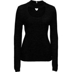 Sweter ze stójką bonprix czarny. Czarne swetry klasyczne damskie bonprix, w prążki. Za 89,99 zł.