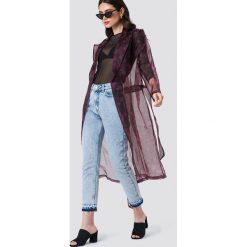 Płaszcze damskie: NA-KD Trend Płaszcz z wzorzystej organzy – Black