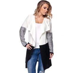Odzież damska: Sweter w kolorze ecru-jasnoszaro-czarnym