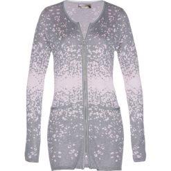 Długi sweter rozpinany z dzianiny żakardowej bonprix szary melanż - pastelowy jasnoróżowy. Szare kardigany damskie marki Mohito, l. Za 119,99 zł.