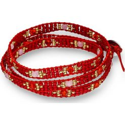 Bransoletki damskie: Skórzana bransoletka z perłami w kolorze czerwonym