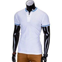 T-SHIRT MĘSKI BEZ NADRUKU S661 - BIAŁY. Białe t-shirty męskie z nadrukiem Ombre Clothing, m, z bawełny, z kontrastowym kołnierzykiem. Za 29,00 zł.