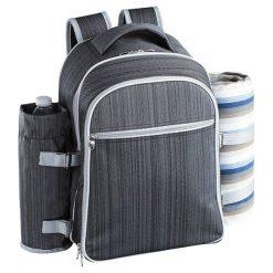 Plecak piknikowy z akcesoriami - (S)30 x (W)41,5 x (G)20,5 cm. Czarne plecaki męskie Przygotowania do majówki, z materiału. W wyprzedaży za 259,95 zł.