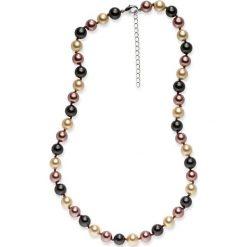 Naszyjniki damskie: Naszyjnik z pereł w kolorze ciemnoszaro-beżowo-brązowym – dł. 43 cm