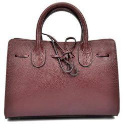 Torebki klasyczne damskie: Skórzana torebka w kolorze bordowym – (S)29 x (W)21 x (G)10 cm