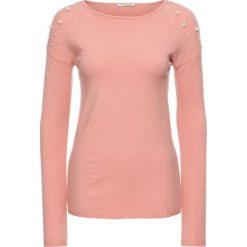 Sweter z aplikacją z perełek bonprix stary jasnoróżowy. Czerwone swetry klasyczne damskie marki bonprix, na zimę, z dzianiny. Za 54,99 zł.