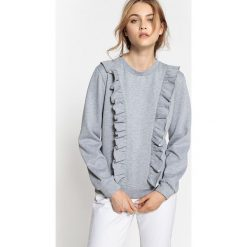 Bluza z podwójną falbanką z przodu. Szare bluzy damskie La Redoute Collections, m, z bawełny, z długim rękawem, długie. Za 110,84 zł.